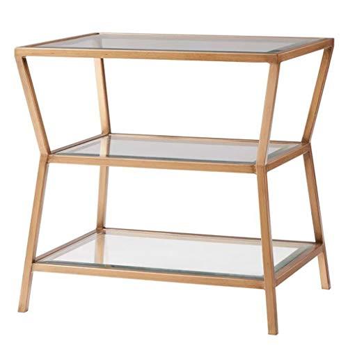 KST salontafel van gehard glas van smeedijzer, bijzettafel vierkant met drie lagen, geschikt voor de woonkamer, sofa, bijzettafel, hoektafel, slaapkamer, nachtkastje, lampje, balkon