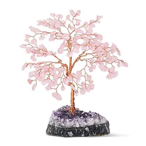 Tantivybo Handmade Natural Rose Quartz Crystal Tree (189 Gemstone Count), Amethyst Cluster Base, Healing Properties Reiki Bonsai Feng Shui Figurine for Home Office Desk Decoration Wealth Luck