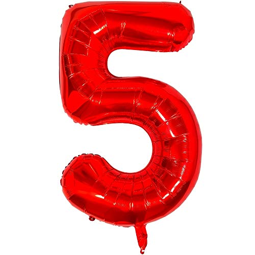 DIWULI, gigantische XXL Zahlen-Ballons, Zahl 5, Luftballons rot, Zahlenluftballons, rote Folien-Luftballons groß Nummer Nr Jahre, Folien-Ballons 5. Geburtstag, Party-Deko, Dekoration, Geschenk-Deko