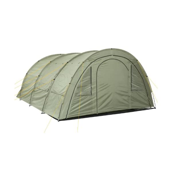 CampFeuer - Tunnel Tent with 2 Sleeping Compartments, Olive-Green, with Groundsheet and Movable Front Wall