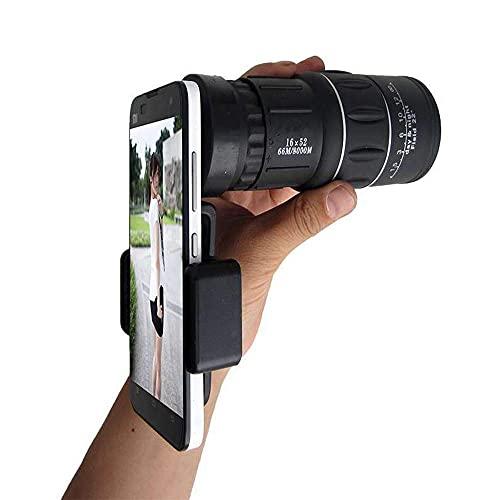 DealMux Telescopio 16X52 Monocular Soporte para teléfono celular Cámara HD Monocular de bajo nivel de luz de alta potencia para observación de aves Camping Caza Turismo