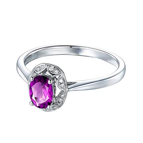 ANAZOZ sieraden 925 sterling zilveren ring dames trouwring met echte amethist verjaardag cadeau voor vrouwen