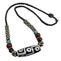 NMKAS Achat Halskette Schlüsselbeinkette, ethnischer Stil geknotete Achat Dzi Schlüsselbeinkette Retro einfache Wachsseil geflochtene Kurze Halskette