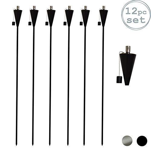 Harbour Housewares Lanterne Noire/Torche de Jardin à Huile/à Paraffine - Design Triangle de 1460 mm de diamètre x12