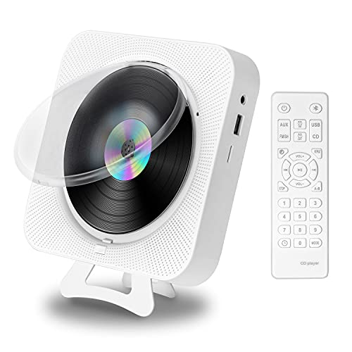 CD Player with Radio Boombox - Canareen Upgraded Bluetooth CD Player Wall Mounted Desk Stand with Dust Cover & LED Screen   3.5mm AUX Jack with Remote Control Home Audio FM Radio USB MP3 Music Player