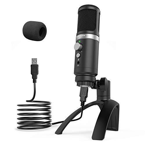 Micrófono-PC-USB-Streaming-Condensador Profesional, Moman EM1 Microfono Compatible con Móvil Andorid, Ordenador, Laptop para Grabación, Enseñanza, Videoconferencia, Transmisión, Gaming
