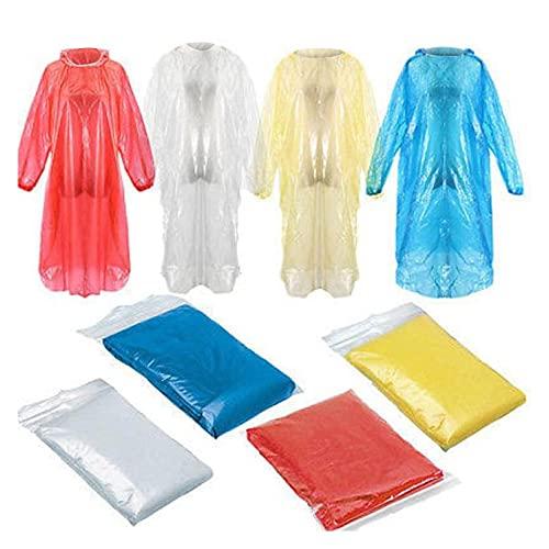 JKKJ Regenponcho für Erwachsene – EVA-Regenmantel mit Kapuze, tragbar, wasserdicht, Regenbekleidung für Männer und Frauen, Camping, Wandern, Outdoor (zufällige Farbe)