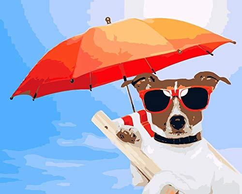 BHDSV Nach Zahlen Leinwand Zahlen leinwand wandbildTiere Hund isst Gurken-40x50cm-No Frame