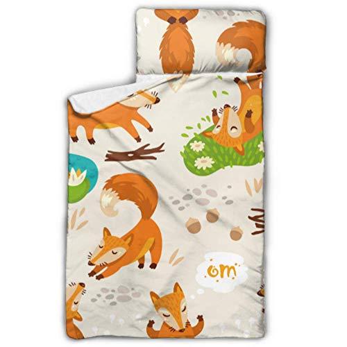 WYYWCY Fox Yoga Simpatico animaletto Divertente Roll Up Nap Mat Ragazzo Sacchi a Pelo per Bambini con Coperta e Cuscino Design Arrotolabile Ottimo per Asilo Nido per Bambini in età prescolare 50'x20