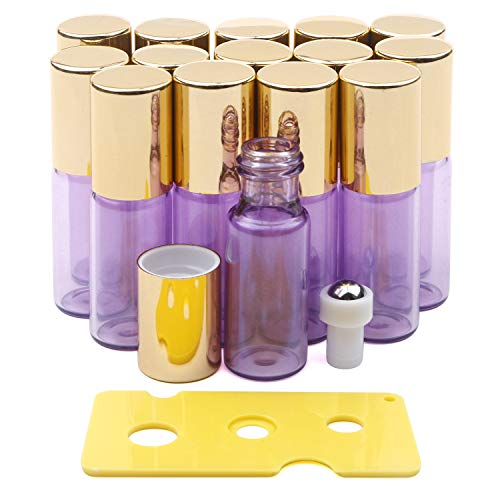 Kesell Essential Oil Roller Bottles Set with Stainless Steel Balls, 15 Pack 5ml Leakproof Glass Bottle with 15 Rollerballs for Perfume & 1 Opener
