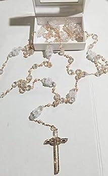 Wedding Lasso Rose Gold Beaded with Crystal Encrusted Cross Unity Rings Lazo Boda Matrimonio Oro Rosa Dorado Favor Mancuerna Boxed