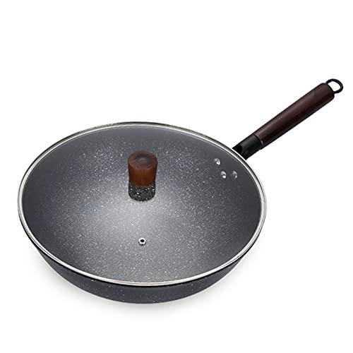 Cacerola de fritos de hierro con tapa sin palanca Wok Cacerola de utensilios de cocina plana Cocina de cocina Caja de cocina Cocina de comida Calentamiento rápido