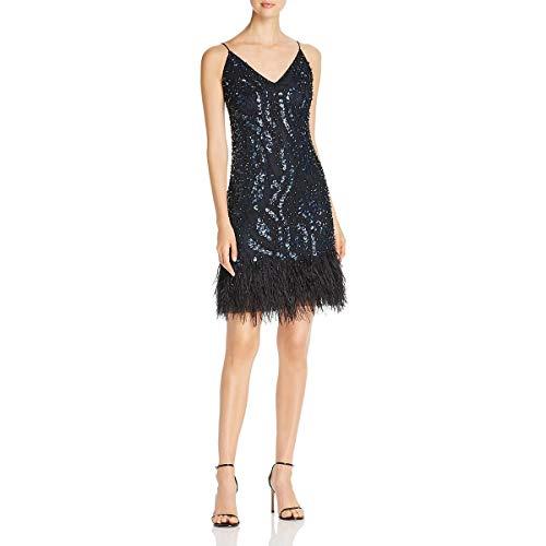 Elie Tahari Womens Porsha Feather Fringe Embellished Slip Dress Navy 10