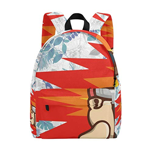 Jetpack Pug School Backpack, Print Daypack Fashion Shoulder Schoolbag for Men Womens Boys Girls
