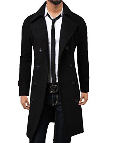 Elonglin Herren Winter Mantel Revers Trenchcoat Lange Jacke Zweireiher Business Casual Britischer Stil Black DE L (Asie 3XL)