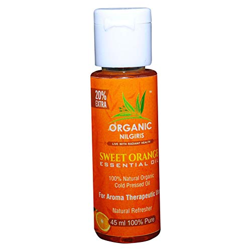 Organic Nilgiris 100% pure Sweet Orange essential Oil with Vitamin E Cold Pressed, Relaxation, Skin Therapy 100% Pure Aroma, Therapeutic Grade Hair, Body, Face & Good Vibes 45ml pack of 1p