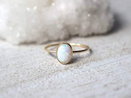 Natürlicher ovaler Opal Edelstein Sterling Silber Minimal Design Stapelbarer Ring für Frauen, Lünette Set Ring, mehrfarbige Brautjungfernringe