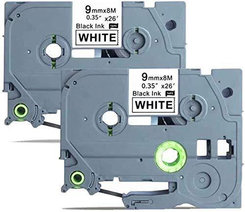 """TZe-221 Laminated Label Tape Compatible for BRO TZe221 TZe 221 Black on White 2 Pack 0.35"""" x 26.2 Feet(9mm x 8m) for P-Touch PT-D200 PT-D210 PT-7600 PT-E300 PT-D400 Label Makers"""