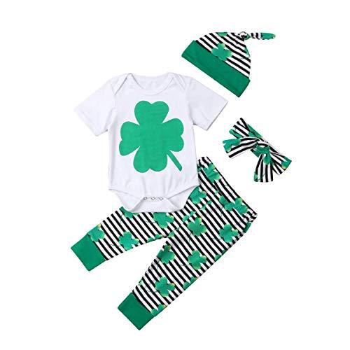 Säuglingskleinkind Little Baby 4 Stück St. Patrick's Day Kleidung Set Vierblättriges Kleeblatt Kurzarmshirts + Gestreifte Lange Hosen + Hut + Stirnband Outfit (0-6 Monate, Weiß)