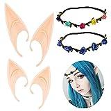 YLL Role Play Elf Ears, 2 pares de orejas de hada y 2 piezas de diadema de guirnalda, suaves orejas de elfo puntiagudas para el disfraz de juego de rol de Halloween y Navidad