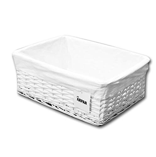 Arpan Large White Wicker Storage Basket with Removable Lining - Special Xmas Gift Hamper