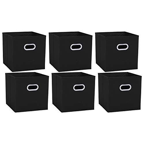 Amazon Brand – Umi Set di 6 Cassette in Tessuto Panno Pieghevole Ripiegabile, Cubi Organizzatori Cesto Contenitori con Doppio Manico in Plastica per Casa, Ufficio, Asilo Nido, Colore Nero