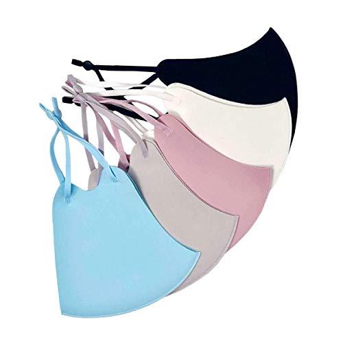 SMUG Reusable Face Covering Masks Multipack 5 Colour Set (with Black Storage Bag) - Black, Grey, Light Blue, Dark Pink and Pale Pink