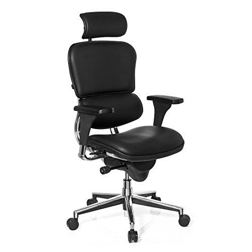 hjh OFFICE 652983 Chefsessel mit Kopfstütze ERGOHUMAN BASE ONE Leder Schwarz hochwertiger Bürodrehstuhl mit Vollausstattung
