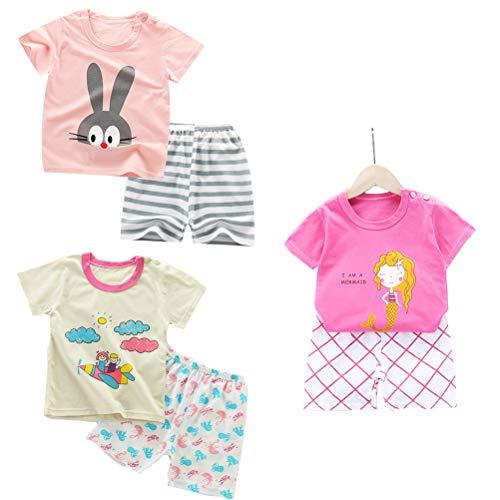 DEYOU - Juego de 3 camisetas de manga corta para niñas y bebés, 6 unidades (con hebilla de hombro)