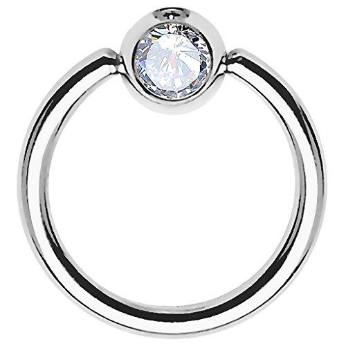 Piersando BCR Piercing Ring Universal Klemmring mit Zirkonia Kristall Klemm Kugel für Septum Brust Tragus Helix Nase Lippe Ohr Intim Nippel Chirurgenstahl Silber Clear 1,2mm x 10mm x 4mm