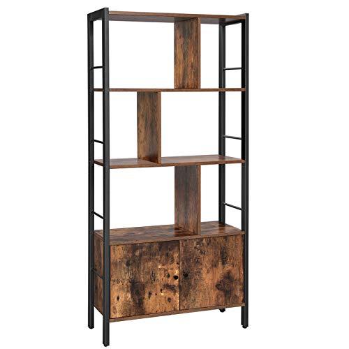 VASAGLE Bücherregal, Bücherschrank mit 4 offenen Regalebenen, geräumiger Wohnzimmerschrank, Küche, Büro, stabiles Stahlgestell, Industrie-Design, vintagebraun-schwarz LBC022B01