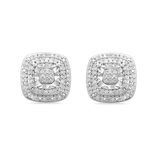 Jewelili Sterling Silver 1/4 Cttw Natural White Round Diamond Double Halo Stud Earrings