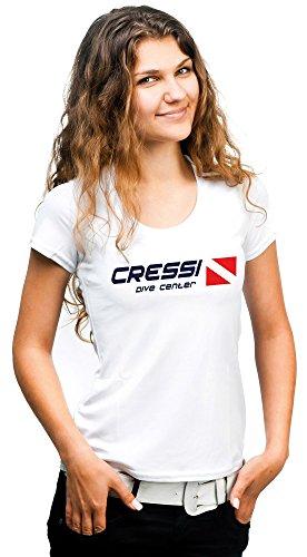 Cressi Dive Center Camiseta, Mujer, Blanco, L
