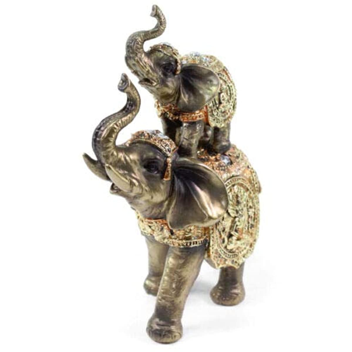 Feng Shui 1 Up & Down Elephant Trunk Statue Lucky Figurine Gift Home Decor Bronze