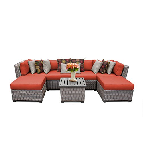 TK Classics FLORENCE-07a-TANGERINE Florence 7 Piece Outdoor Wicker Patio Furniture Set, Tangerine