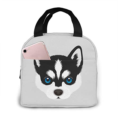 Funny Dog Puppy Siberian Husky Insulated Lunch Box Reusable Cooler Tote Bag Waterproof Lunch Holder Gift for Women & Men Work Picnic or Travel