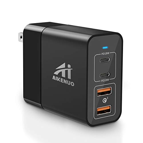 USB C Charger, AI AIKENUO 48W Fast Charger with 2 Ports 18W PD 3.0 USB-C and 18W QC 3.0, USB C Wall Charger for iPhone 11 Pro Max X XS XR 8, Galaxy S10 S9 + S9, iPad Pro and more