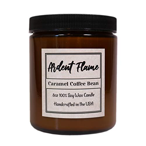 Ardent Flame Candles | Caramel Coffee Bean | 100% Natural Soy Candle | Highly Scented | Hand Poured in The USA | 8 oz | Long Lasting | with Gift Box