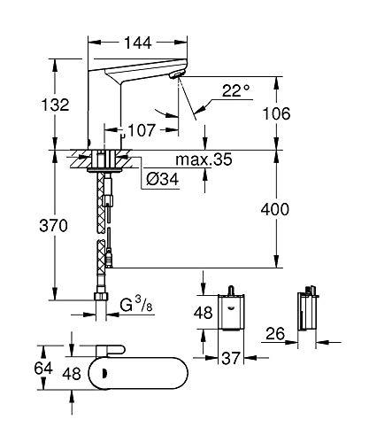 Grohe – Waschtisch-Sensorarmatur, Kalt- und Warmwasser, Batterieversorgung inkl., Funktionsmodi, Chrom - 6