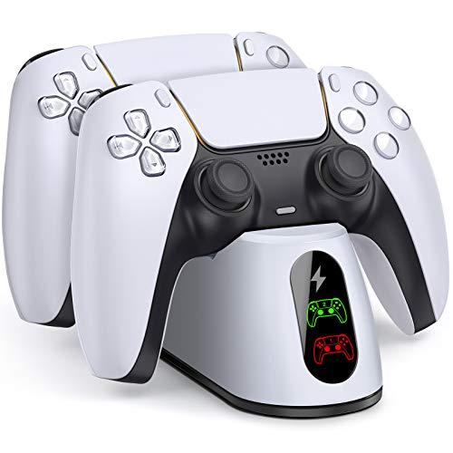 PS5コントローラー充電器 BEBONCOOL PS5 充電スタンド デュアルショック 充電ホルダー 急速充電 携帯便利 プロコン チャージャー 2台同時充電可能 指示LED付き 5V/3A充電アダプター付き ホワイト