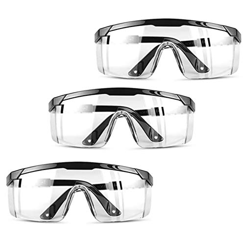 Awasa 3 Pairs Anti Fog Safety Glasses Protective Glasses Safety Googles for Workplace(Black)