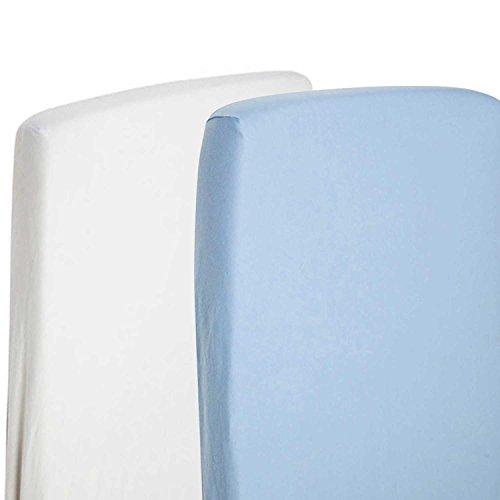 2x sábana bajera ajustable Compatible con SnuzPod-Protector de cama para cuna 100% algodón-Color blanco/blue-by For-your-Little-One