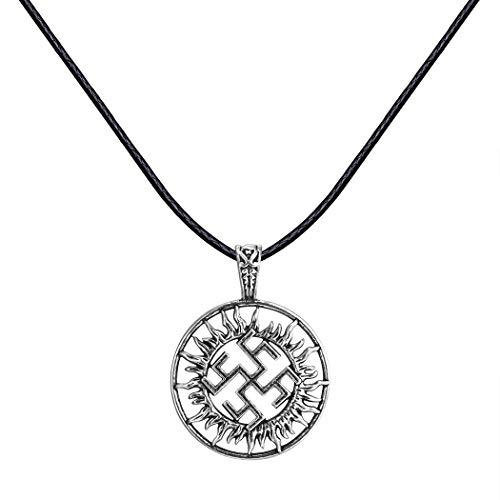 AILUOR Handcrafted Viking Norse Amulet Pendant Necklace, Vintage Sun Wheel Kolovrat Celtic Pagan Slavic Symbol Warrior Talisman Necklace Jewelry Men Unisex (A)