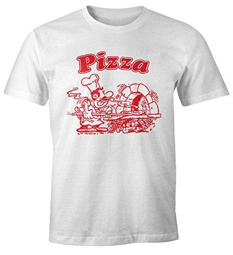 MoonWorks MoonWorks Pizza Shirt Schachtel Motiv Italiano Italien Fun-Shirt weiß XS