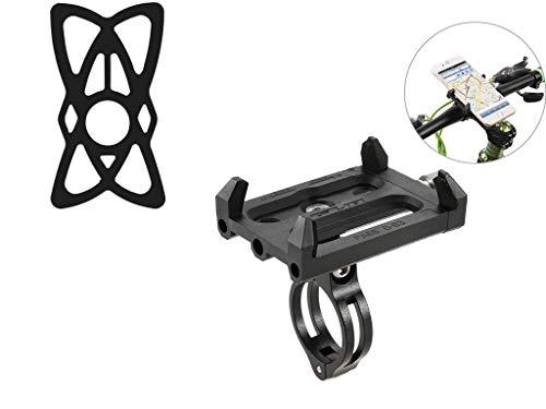 Lixada Antideslizante Bicicleta Soporte de Teléfono Ajustable Soporte de Montaje para 3.6-6.2 Inch Teléfono Móvil Inteligente (Soporte+Banda Negra)