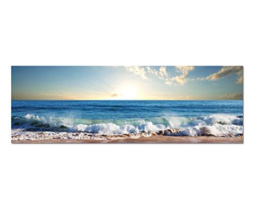 Paul Sinus Art Panoramabild auf Leinwand und Keilrahmen 150x50cm Meer Strand Wellen Sonnenuntergang Wolken
