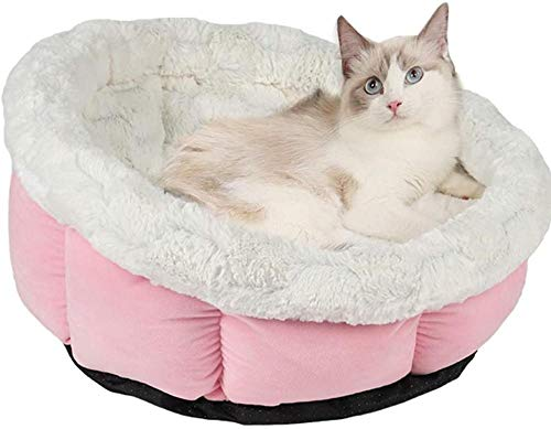 Luxury Cat Bed Warm and Soft Dog Basket for Small Medium Dog Machine Washable and Non-Slip Bottom-Pink
