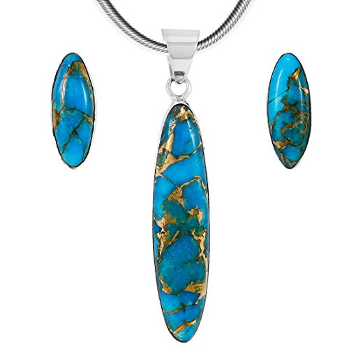 925 Sterling Silver Matching Pendant &Amp; Earrings Set Genuine Turquoise 20&Quot; Necklace (Matrix Turquoise)