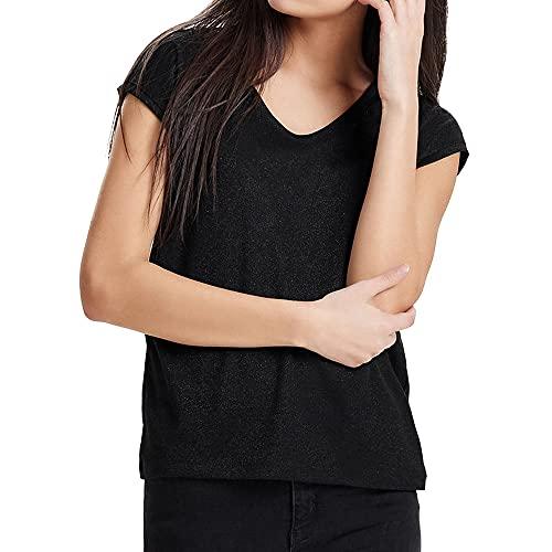 Only onlSILVERY S/S V Neck Lurex Top JRS Noos Camiseta, Negro (Black), 38 (Talla del Fabricante: Medium) para Mujer