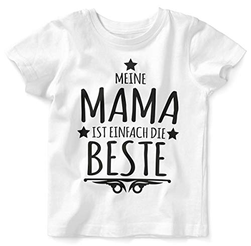 Mikalino Baby/Kinder T-Shirt mit Spruch für Jungen Mädchen Unisex Kurzarm Meine Mama ist einfach die Beste | handbedruckt in Deutschland | Handmade with Love, Farbe:Weiss, Grösse:92/98